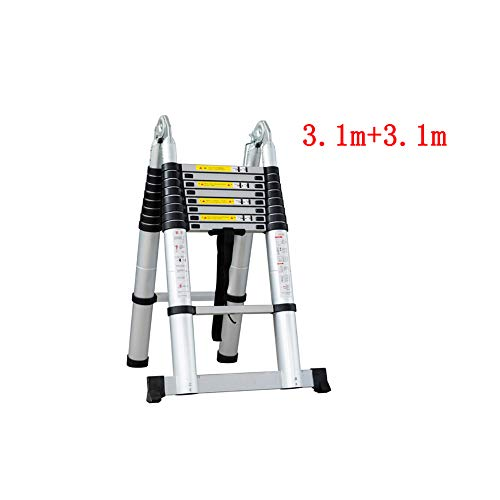 GSHWJS Telescopic Ladder Multi-Function Household Folding Ladder Rise Water Characters Straight Double Ladder Bamboo Engineering Ladder Thick Aluminum Alloy Step Stool (Size : 3.1m+3.1m)