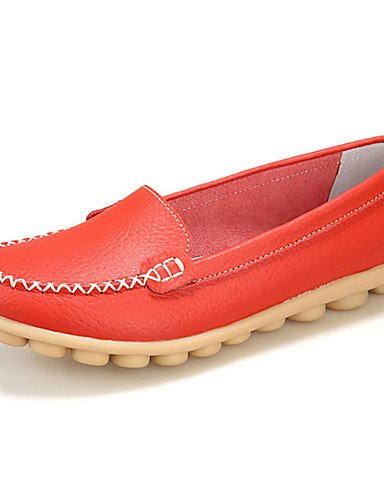 Eu40 cuero Naranja Zapatos comfort Plano negro Cn38 Uk5 Caqui Blanco 5 Zq us7 Bermellón Marrón Amarillo De casual Uk7 Eu38 tacón 5 us9 Mujer Orange mocasines Cn41 Orange 8dqWUwOz