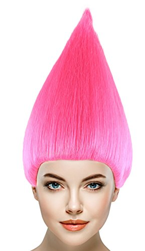 Halloween Costumes Womens Cap (Cece Trolls Hair Wigs w/Wig Cap Cosplay Costume Party Halloween colorful Pink Hairpiece For Men,Women)