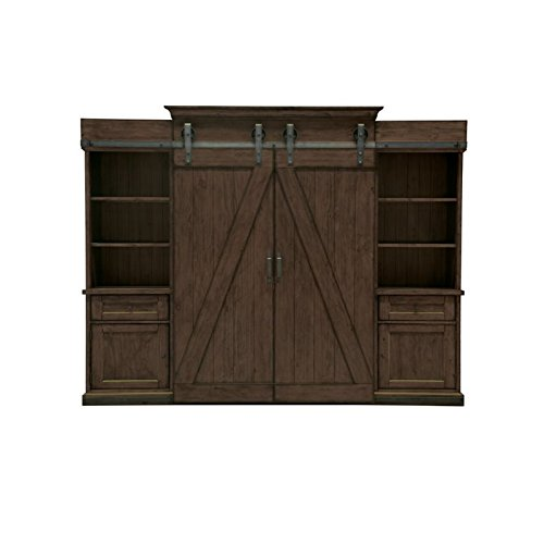 Magnussen Fraser Entertainment Wall in Rustic Pine - 2 Drawer Pine Hutch