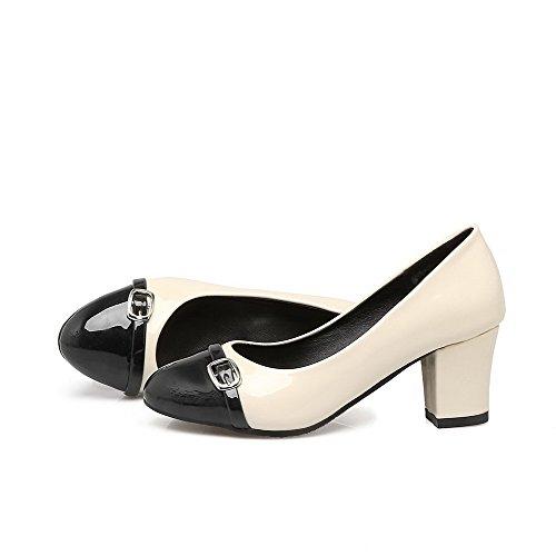 VogueZone009 Damen Lackleder Ziehen auf Spitz Zehe Mittler Absatz Gemischte Farbe Pumps Schuhe Schwarz