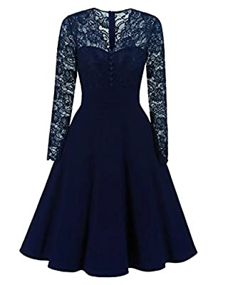 Adodress Women's Autumn Long Sleeves Short Prom Dresses Formal Casual Swing Party Cocktail Dresses S-XXL