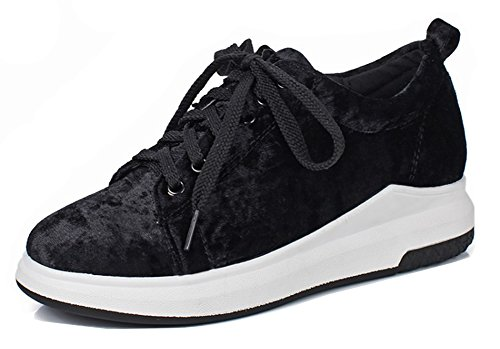 Aisun Femmes Confort Décontracté Lacets Bas Haut Épais Semelle Plate Skateboard Plate-forme Sneakers Chaussures Noir