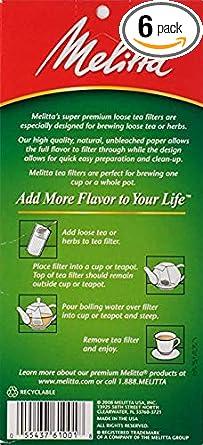 Melitta Tea Filters, 40-Count (Pack of 6)