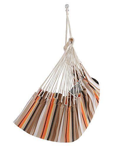 Patio Watcher Standard-size Hammocks Hanging Hammock Swing Chair Outdoor Patio Porch Swing Seat with Wood Spreader Bar, Orange by Patio Watcher