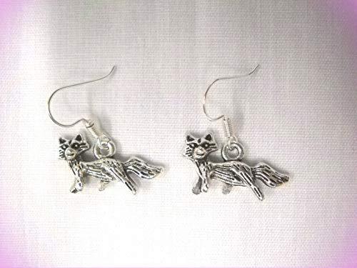 Cute 3d Full Body Fox/Forest Animal Dangling Silver Alloy Charm Crystal Fashion Jewelry Earrings For Women