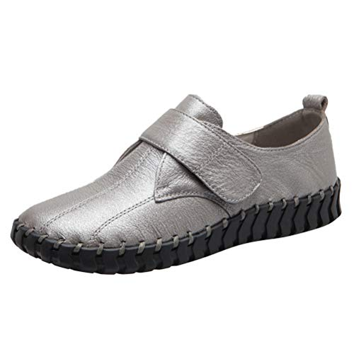 (Mordenmiss Women's Driving Mary Jane Flat Velcro Handmade Sewing Loafer Slip On Silver US 9)