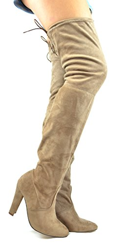 Chase & Chloe Campbell-2 Blocket Chunky Häl Partiell Lace-up Kvinnor Låret Hög Boot Taupe