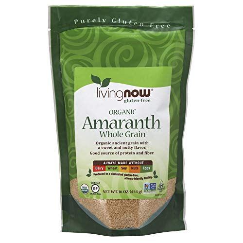 NOW Foods, Organic Amaranth Whole Grain, Source of Protein and Fiber, Gluten-Free, Certified Non-GMO, 16-Ounce ()