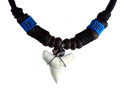 [Exoticdream Real Shark Tooth Necklace Surfer Hawaiian Beach Boys Girls Men - Color White Bone (blue&black)] (Bone Shell Necklace)