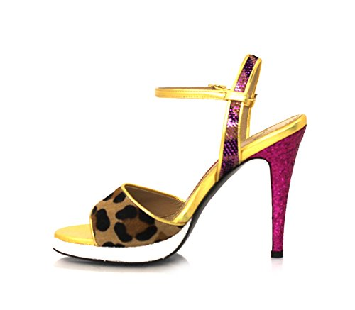Safari Band Sandalen Stiletto 9cm Leopard Fell Echtleder Innensohle Pink / Gold