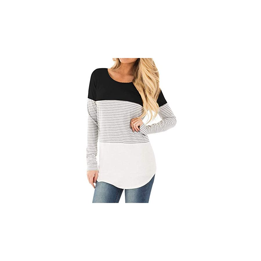 Maternity Clothes, Women's Long Sleeve Striped Patchwork Pregnancy Nursing Pullover Tunic Tops Blouse Shirt
