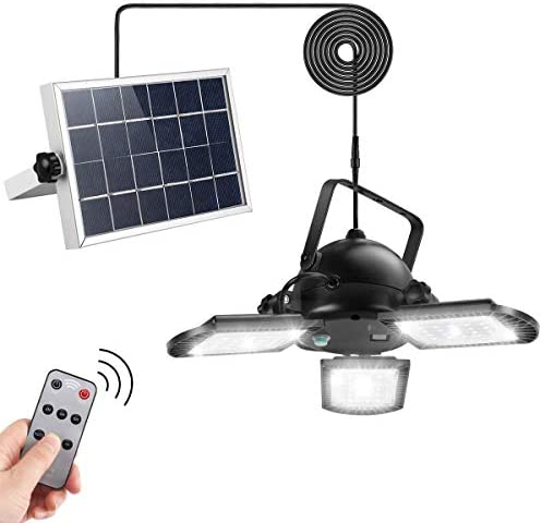 Solar Pendant Lights, AGPTEK Solar Powered Shed Light with Remote Control 60LED 800LM for Outdoor Indoor Home Yard Barn Gazebo Patio Porch Storage Room Balcony Chicken Coop IP65 Waterproof