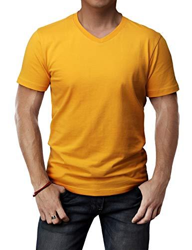 - H2H Mens Contrast Color Crew Neck Casual T-Shirt Top Mustard US L/Asia XL (CMTTS0197)