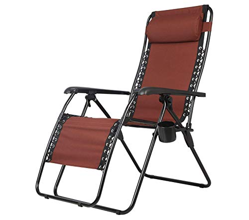 (Wood & Style Patio Outdoor Garden Premium Zero Gravity Recliner Lounge Chair, Folding Patio Lawn Pool Chair with Headrest Cup Holder, Support 300lbs)
