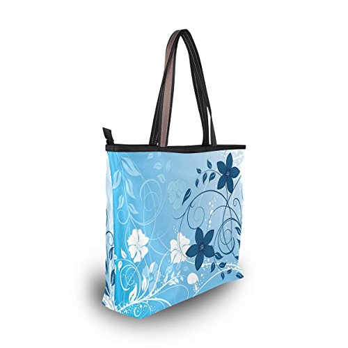 Florale D'épaule Bleue Sac Fleur Main tout Fourre Alaza À Grande Belle HAwxqzH8Z