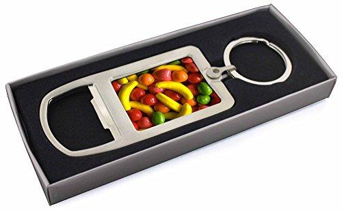 Fruchtbonbons Chrom-Metall- Flaschenöffner Schlüsselring Strumpffüller