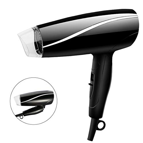Folding Handle Hair Dryer Compact Travel Hair Dryer Professional Portable 1200W Ionic Blow Dryer Lightweight Hair Dryer Fast Drying with 3 Heat Settings, Black Black