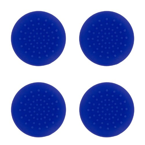 4 x Assecure blue TPU silicone rubber gel analogue thumb grip stick caps for Sony PS4 controllers [Playstation 4]