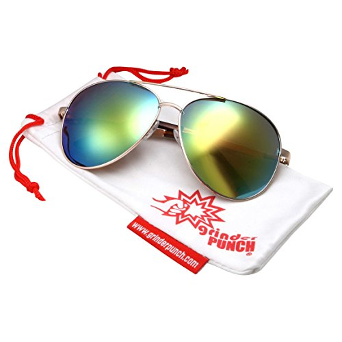 grinderPUNCH XL Wide Frame Aviator Sunglasses - Large 148mm Wide - Mirrored Lens - Green REVO - Faces Sunglasses Wide For