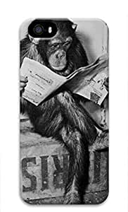 iCustomonline Chimpanzee Reading Newspaper Case for iPhone 5 5S 3D
