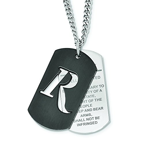 (Remington Stainless Steel Black IP 2nd Amendment Dog Tag Necklace)