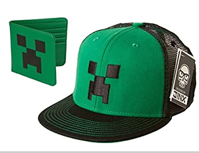 (Set of 2) Minecraft Hat and Creeper Wallet; Adjustable Hat Fits Boys to Youth, Breathable hat .
