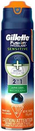 Gillette Fusion ProGlide Sensitive 2 in 1 Shave Gel, Alpine Clean, 6 Ounce