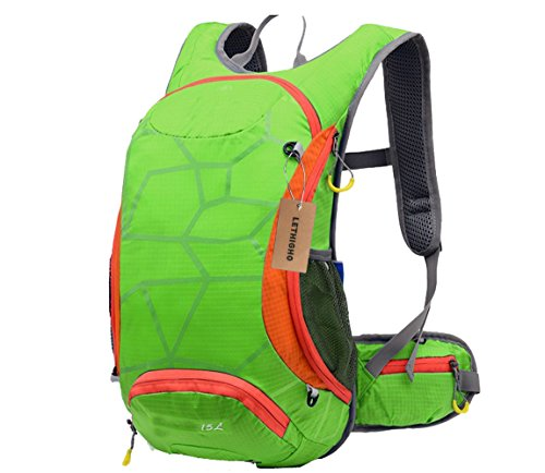 LETHIGHO Multifunctional 15 L Outdoor Knapsack Ultralight Bag Water Resistant Riding Backpack Water Bladder Cycling Bicycle Packsack Running Hiking Climbing Sports Unisex Daypack Green