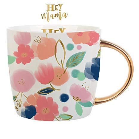 Slant Collections Unisex-Adult Floral Hey Mama Mug - Floral Coffee Mug