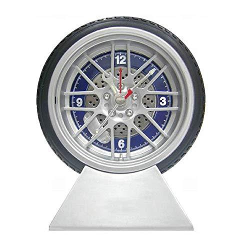 (funwill 4 Inch Mute Modern Alarm Clock Simulation Tyre Shape Deak Clocks Table Decoration for Home Office Dorm Car)