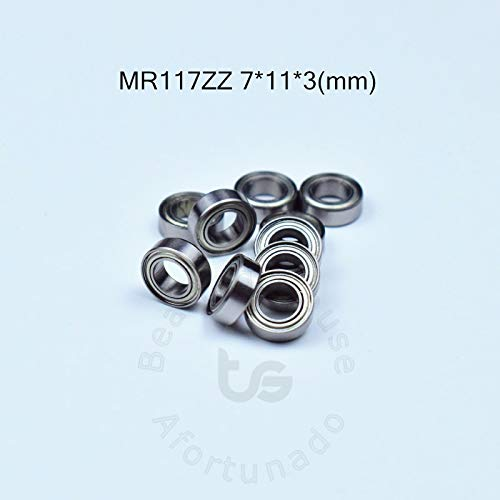Ochoos MR117ZZ Bearing 7113(mm) ABEC-5 Metal Sealed Miniature Mini Bearing MR117 MR117ZZ Chrome Steel Bearing - (Outer Diameter: 11mm, Inner Diameter: 7mm)