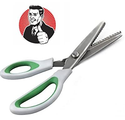 ZIG ZAG! Pinking Shears from CTE Craft (9 Inch Green Comfort Grip Professional Dressmaking / Sewing Scissors) from CTE Market