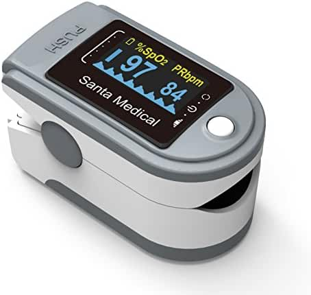 Santamedical Generation 2 SM-165 Fingertip Pulse Oximeter Oximetry Blood Oxygen Saturation Monitor with carrying case, batteries and lanyard