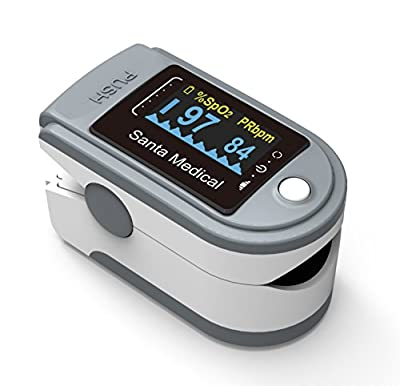 Santamedical Generation 2 SM-165 Fingertip Pulse Oximeter Oximetry Blood Oxygen Saturation Monitor with carrying case, batteries and lanyar