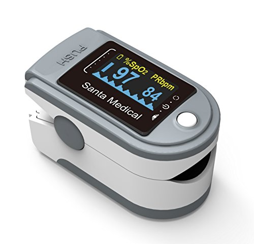 Santamedical Generation 2 SM-165 Fingertip Pulse Oximeter Oximetry Blood Oxygen Saturation Monitor with carrying case