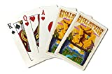 Rocky Mountain National Park, Colorado - Moose - Mid Century Inspired (Playing Card Deck - 52 Card Poker Size with Jokers)
