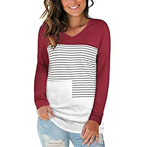 STYLEWORD Women's V Neck Long Sleeve Triple Color Block Striped Casual T Shirts Tops