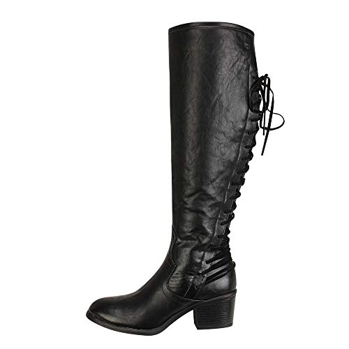 HYIRI Winter Sexy Knee Boots ,Women's Fashion Leather Lace up High Heels Boots -