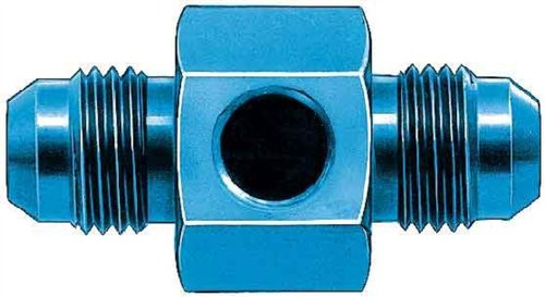 Aeroquip FBM2183 In-Line Fuel Pressure Adapter -06AN x -06AN x 1/8 in. Aluminum Blue Anodized Bulk Packaged In-Line Fuel Pressure Adapter