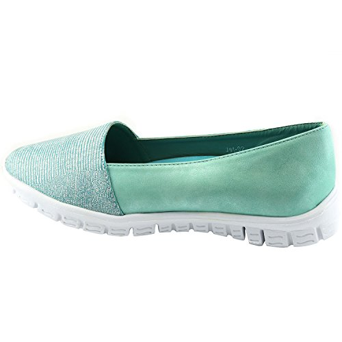 Nature Shoes On Sneaker Pu Fashion Women's Leatherette Metallic Sea Toe Slip Soft Breeze Flat Green Lightweight Snakeskin Almond OWqxnOfr