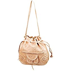 Moroccan Tribal Embossed Tooled Leather Tan Hobo Handbag