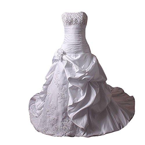 - Kivary Women's White Satin Floral Strapless Pick Up Lace Appliques Garden Church Bridal Wedding Dresses Court Train US 22W