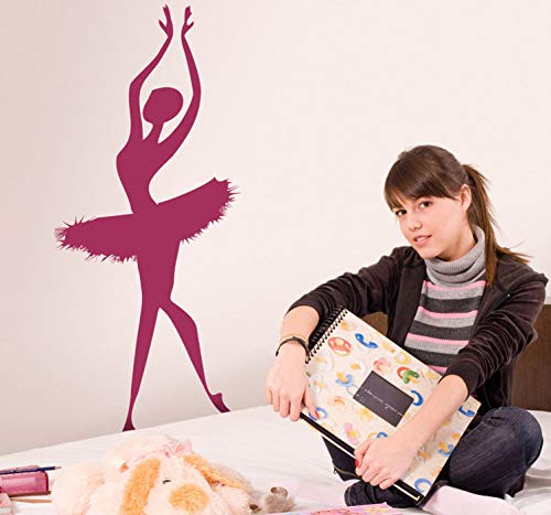 quantd Vinly Art Decal Words Quotes Ballerina Silhouette Decal for Living Room Bedroom Girls Bedroom]()