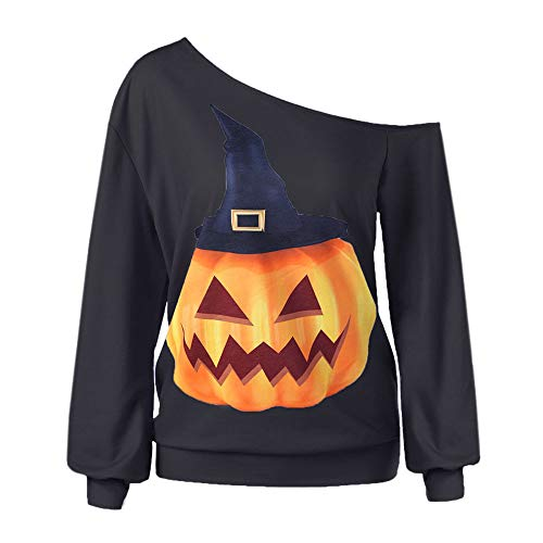 Women Halloween Print Long Sleeve Sweatshirt, Pullover Tops ANJUNIE Blouse Shirt(Black,L (Cover Breech Line)