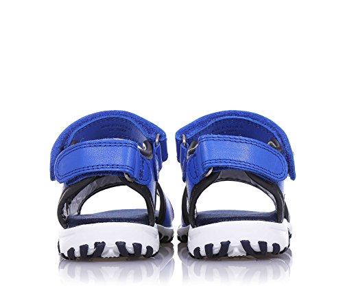 ARMANI - Sandalia azul de cuero, Made in Portugal, con doble cierre de velcro, logo en el cierre, Niño, Niños