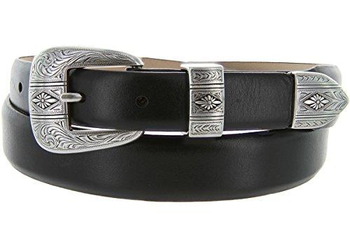 Silver Mesa - Men's Italian Calfskin Designer Dress Golf Belt with Western Silver Plated Buckle Set (40 Smooth Black)