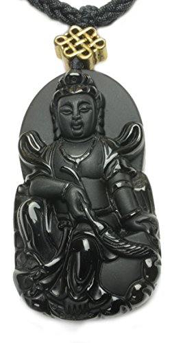 Luxury Black Obsidian Mercy Guan Yin Buddha Amulet Necklace- Fortune Feng Shui Jewelry
