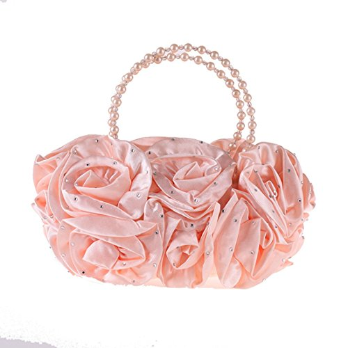Dress JESSIEKERVIN Diamond Women's Simple Bag Handbag Clutch Pouch Bag Pearl Purse Pink Evening 881Orwq