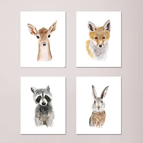 Amazon.com: Set of 4 Woodland Nursery Prints, Baby Animal ...